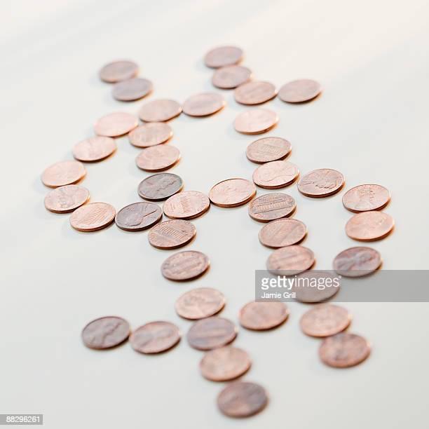 Dollar sign made of pennies