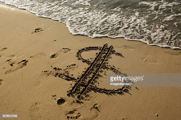dollar sign on beach