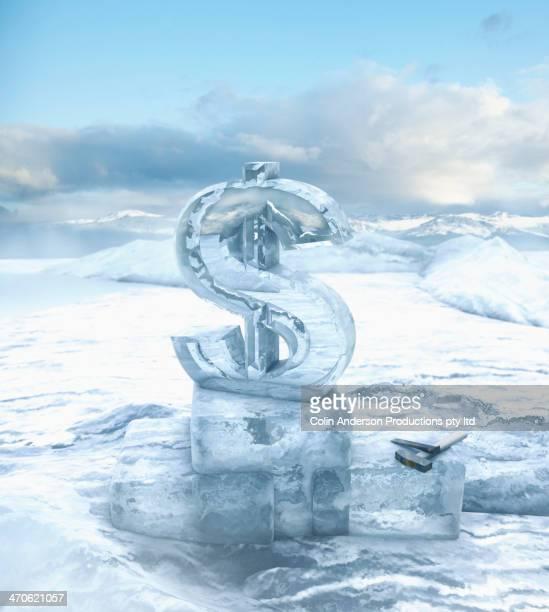 Dollar sign on glacial ocean