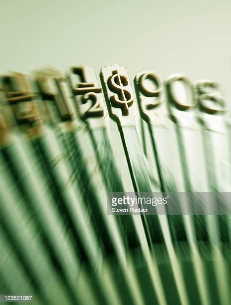 Dollar sign on typewriter type