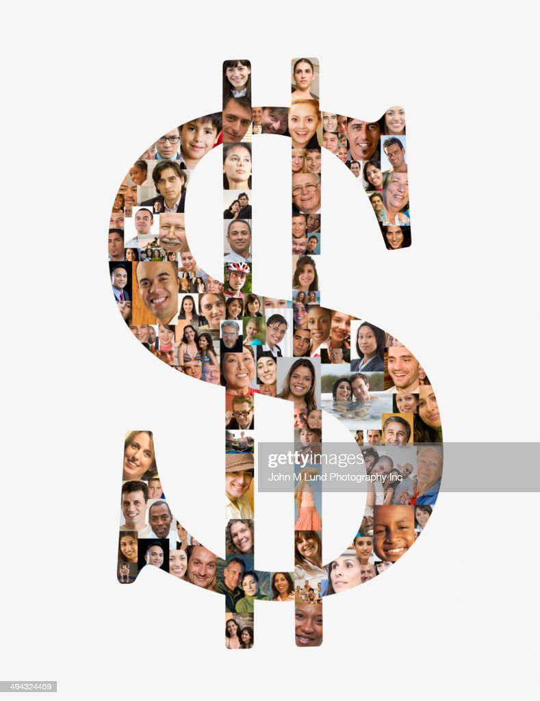 Dollar sign over collage of business people : Stock Photo