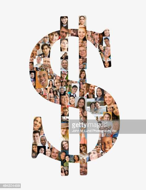 Dollar sign over collage of business people