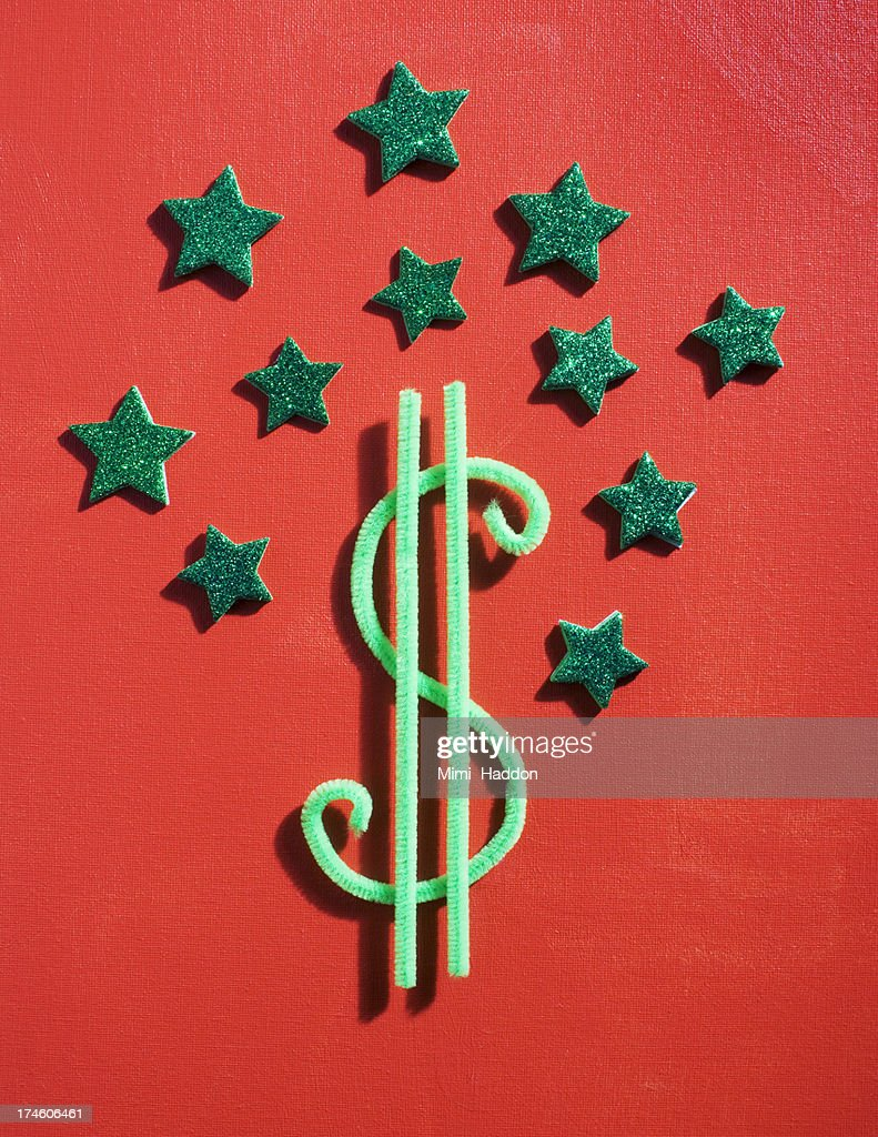 Dollar Sign Surrounded by Green Stars : Stock Photo