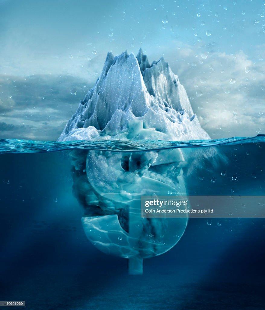 Dollar sign under floating glacier : Stock Photo