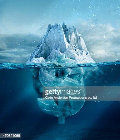 Dollar sign under floating glacier