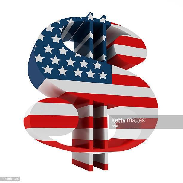 3 D Symbole du Dollar avec drapeau américain