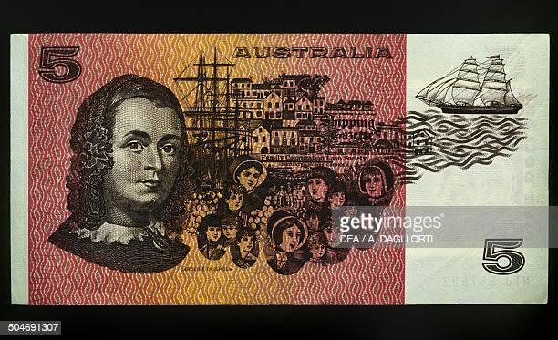 5 dollars banknote 19901999 reverse depicting Caroline Chisholm Australia 20th century