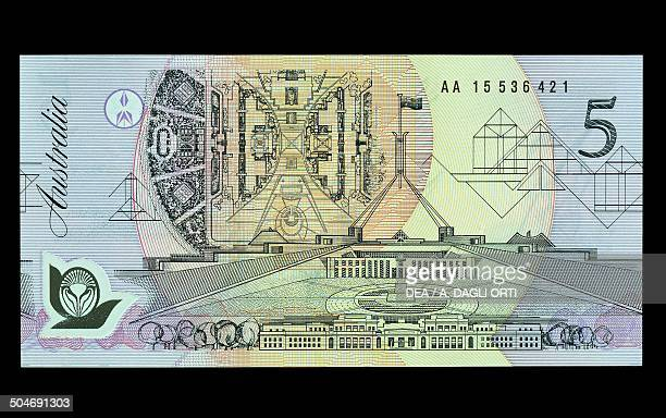 5 dollars banknote 19901999 reverse with the old and new parliament in Canberra Australia 20th century