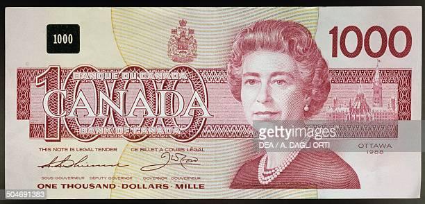 1000 dollars banknote obverse queen Elizabeth II Canada 20th century