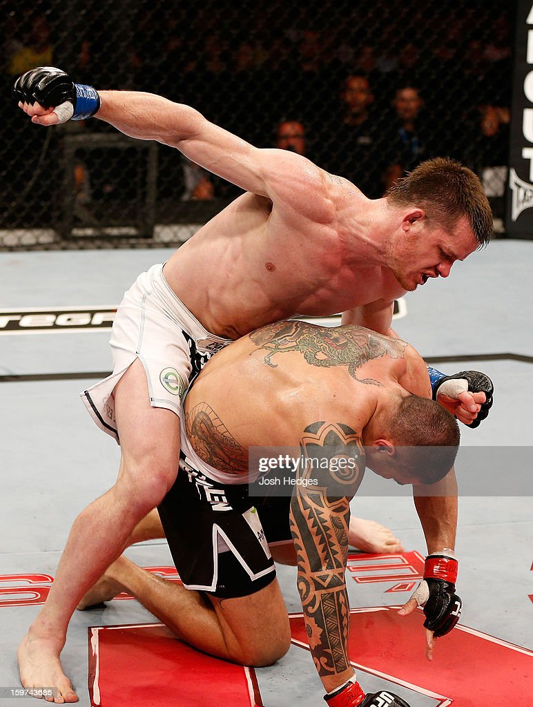 C.B. Dolloway punches Daniel Sarafian in their middleweight fight at the UFC on FX event on January 19, 2013 at Ibirapuera Gymnasium in Sao Paulo, Brazil.