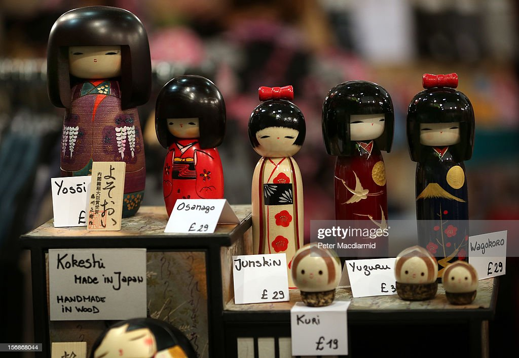Dolls are displayed for sale at The Hyper Japan event at Earls Court on November 23, 2012 in London, England. The show is the UK's biggest Japanese Culture event, with stalls selling clothing and artwork. live music, Japanese food and computer gaming areas are also on show. Many attendees dress up as anime characters or in the lolita fashion widespread in Japan.