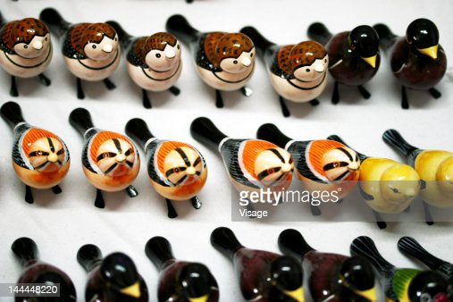Dolls arranged in a row : Stock Photo