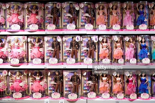 Dolls from Mattel Inc's '12 Dancing Princesses' line of Barbie are displayed at the Toys 'R' Us store in Times Square in New York on Monday October...