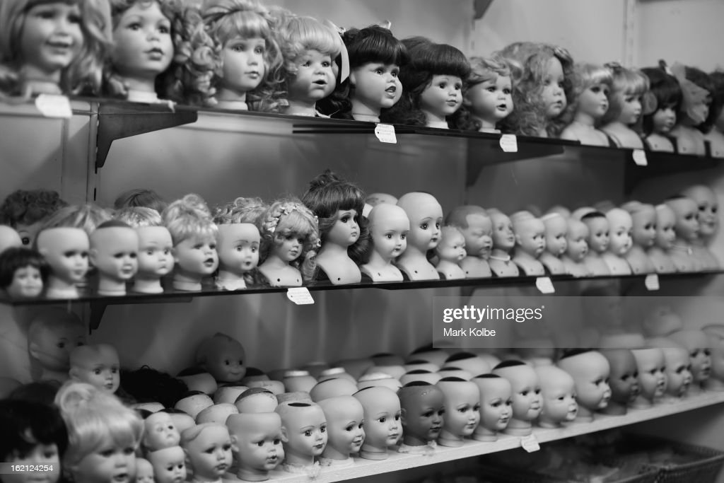 Dolls heads are seen on display at Sydney's Original Doll Hospital in Bexley on February 19, 2013 in Sydney, Australia. Established in 1913 by Harold Chapman Jnr the Doll hospital is now run by Geoff Chapman, the third generation of Chapmans to run the business and will celebrate 100 years of repairing all types of dolls, teddy bears, rocking horses, umbrellas, prams and various other items.
