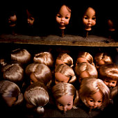 Doll's heads in a store, Santiago, Chile