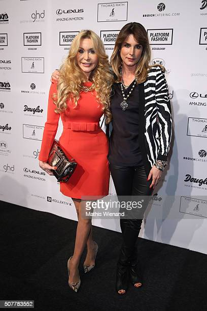 Dolly Buster and Claudelle Deckert attend the Thomas Rath show during Platform Fashion January 2016 at Areal Boehler on January 31 2016 in...