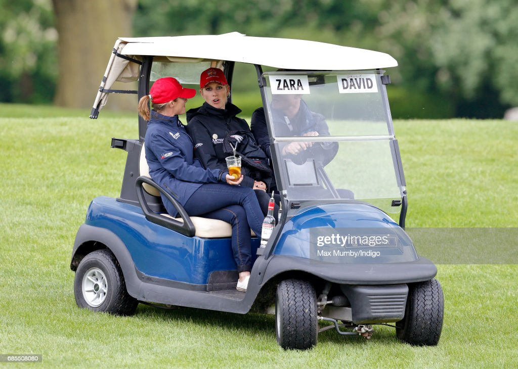 Dolly Maude, Zara Phillips and David Coulthard seen driving a golf buggy as they attend the 5th edition of the 'ISPS Handa Mike Tindall Celebrity Golf Classic' at The Belfry on May 19, 2017 in Sutton Coldfield, England.