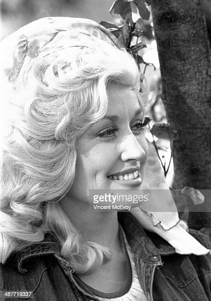 Dolly Parton at a press reception at the Hilton Hotel London 1976