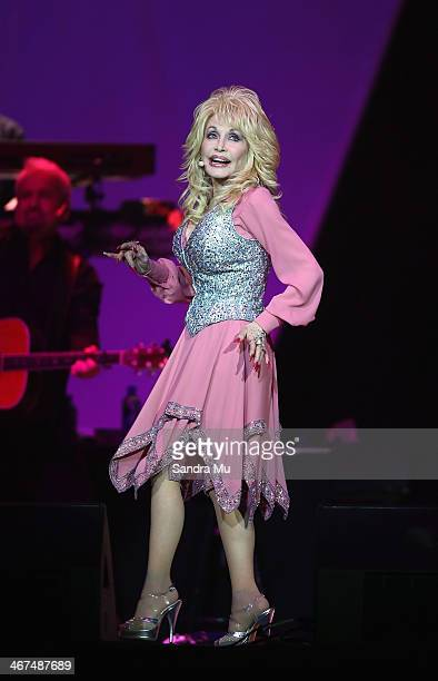 Dolly Parton performs live for fans at Vector Arena on February 7 2014 in Auckland New Zealand