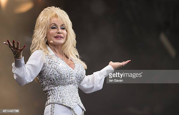 Dolly Parton performs on the Pyramid Stage during Day 3 of the Glastonbury Festival at Worthy Farm on June 29 2014 in Glastonbury England