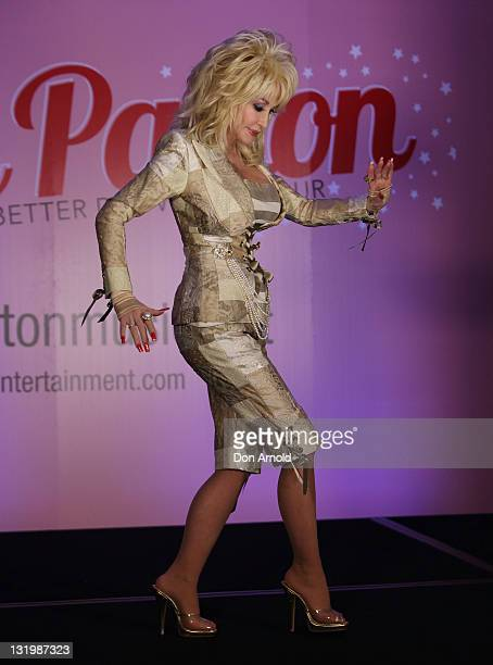 Dolly Parton poses at her press conference at the Intercontinental Hotel on November 10 2011 in Sydney Australia