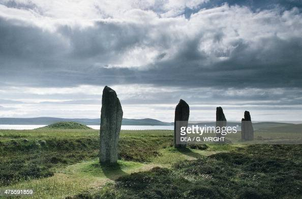 Dolmen in the Neolithic henge and stone circle of Ring of Brodgar or Brogar Orkney Islands Scotland United Kingdom Bronze Age 2500 BC