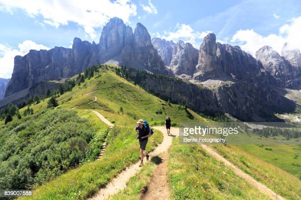 Dolomite, Italy : Tourists walking through the footpath in dolomite, Italy