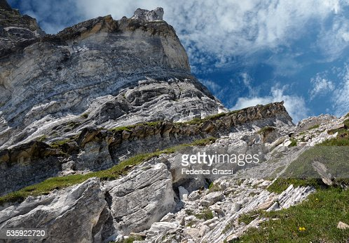 Dolomite Outcrop In The Swiss Lepontine Alps, Vanett Mountain Pass, Southern Switzerland : Stock Photo