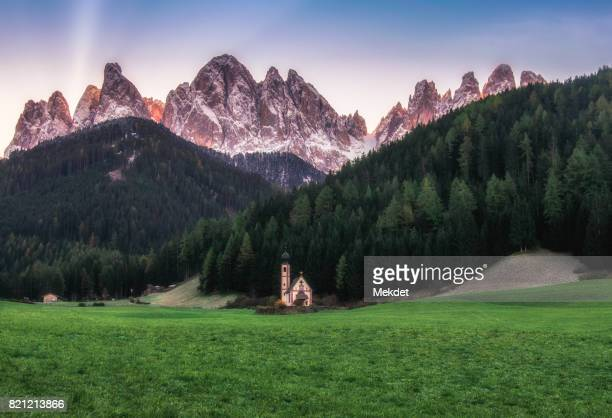 Dolomites Mountain landscape with Santa Maddalena church, Val Di Funes, South Tyrol, Italy