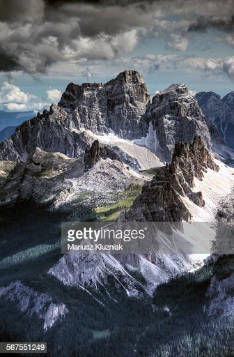 Dolomites peaks view from Lagazuoi mountain
