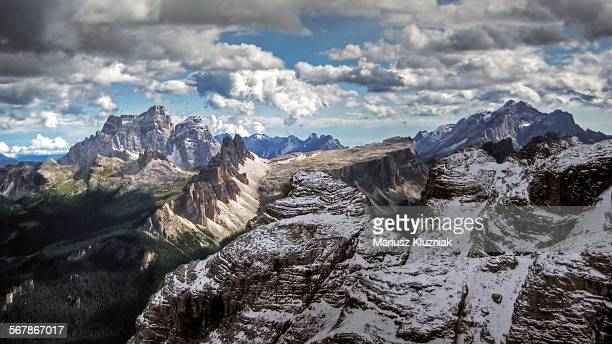 Dolomites rocky and snowy peaks around Cortina