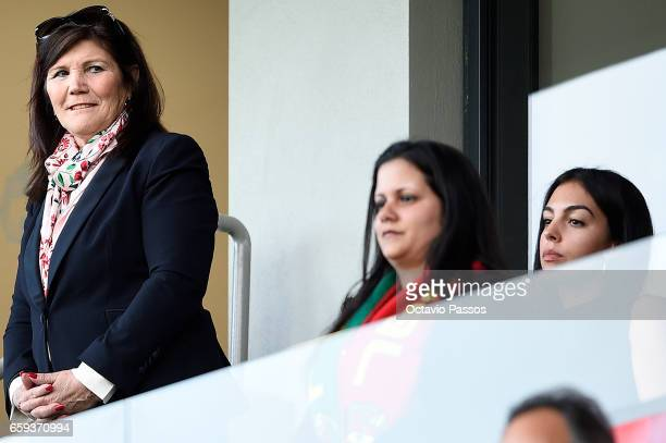 Dolores Aveiro and Georgina Rodriguez watch the international friendly match between Portugal and Sweden at Barreiros stadium on March 28 2017 in...