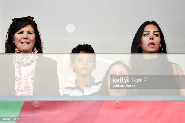 Dolores Aveiro Cristiano Jr and Georgina Rodriguez watch the international friendly match between Portugal and Sweden at Barreiros stadium on March...