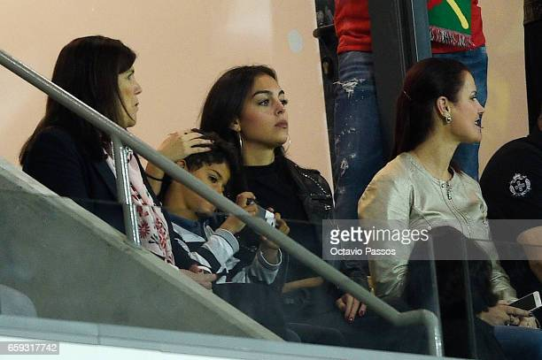 Dolores Aveiro Cristiano Jr Georgina Rodriguez and Elma Aveiro watch the International friendly match between Portugal and Sweden at Barreiros...