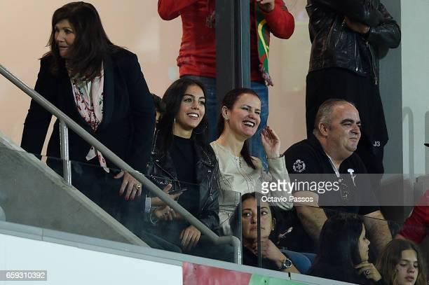 Dolores Aveiro Georgina Rodriguez and Elma Aveiro watch the International friendly match between Portugal and Sweden at Barreiros stadium on March 28...