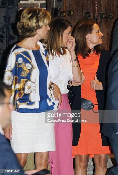 Dolores de Cospedal and Montserrat Gomendio attend the funeral for the father of Spanish vicepresident of Goverment Soraya Saenz de Santamaria Santa...