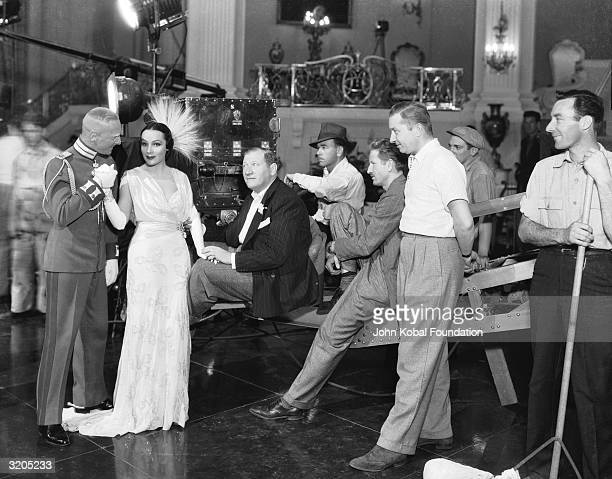 Dolores Del Rio stars as glamorous German spy Dolores Daria Sunnell in 'Lancer Spy' directed by Gregory Ratoff for 20th Century Fox Ratoff watches...