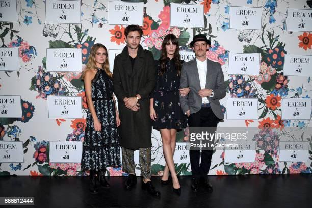 Dolores Doll Francisco Lachowski Jessieann Lachowski and Niels Schneider attend ERDEM X HM Paris Collection Launch at Hotel du Duc on October 26 2017...