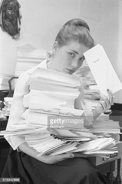 Dolores Hart holds an arm full of greeting cards If she gets sick has an anniversary celebrates a birthday or becomes a bride don't send her a card...