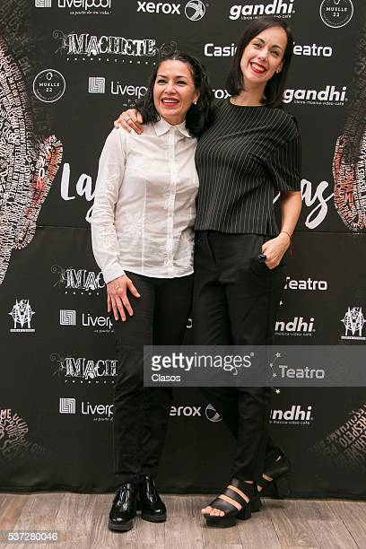 Dolores Heredia and Gabriela de la Garza pose during the press conference of the play 'Las Analfabetas' at Maria Condesa Hotel on May 18 2016 in...