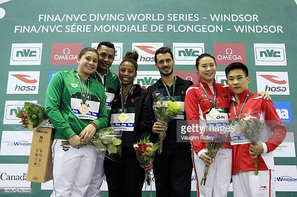 Dolores Hernandez and Jahir Ocampo of Mexico win Bronze Jennifer Abel and Francois ImbeauDulac of Canada win Gold and Han Wang and Hao Yang of China...