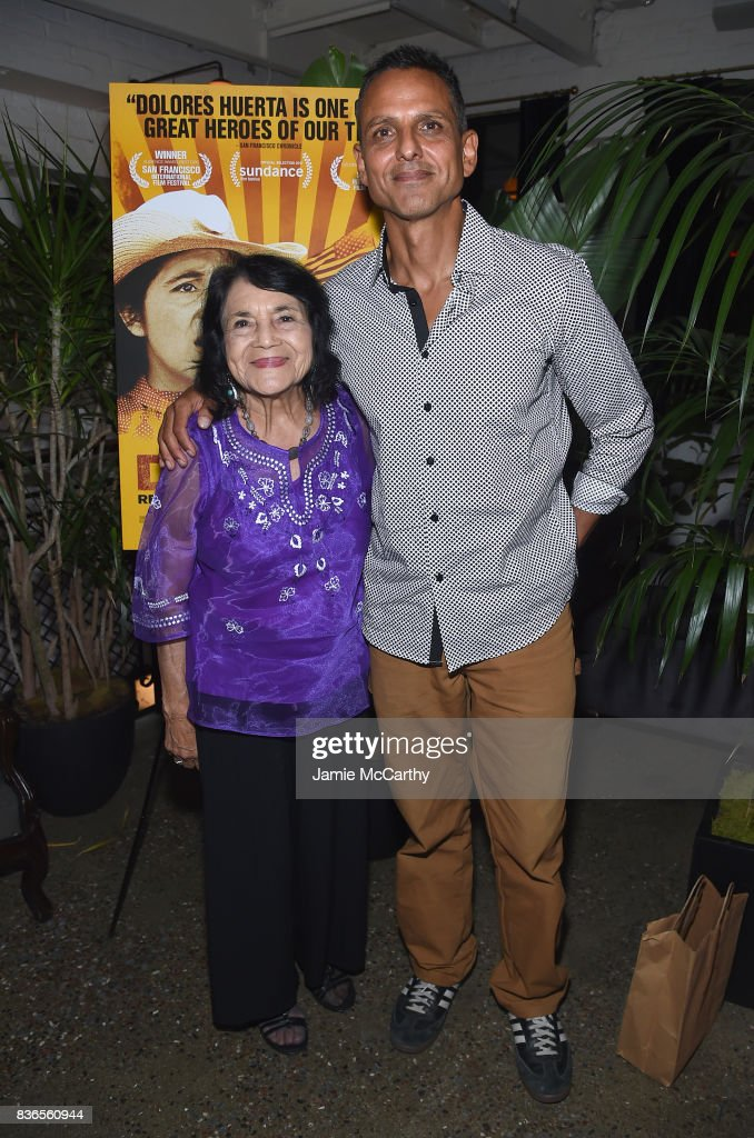 Dolores Huerta, and director Brian Bratt attend the 'Dolores' New York Premiere after party at The Metrograph on August 21, 2017 in New York City.