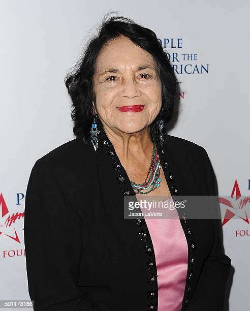 Dolores Huerta attends the 2015 Spirit of Liberty Awards dinner at the Beverly Wilshire Four Seasons Hotel on December 12 2015 in Beverly Hills...