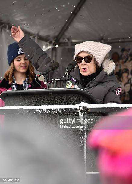 Dolores Huerta speaks during the Women's March on Main Street Park City on January 21 2017 in Park City Utah