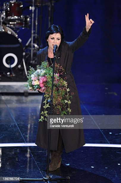 Dolores O'Riordan of The Cranberries performs on stage at the closing night of the 62th Sanremo Song Festival at the Ariston Theatre on February 18...