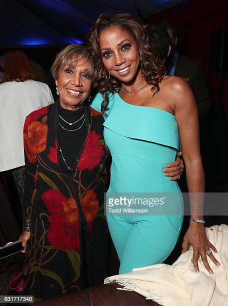 Dolores Robinson and Holly Robinson Peete attend the Hallmark Channel And Hallmark Movies And Mysteries Winter 2017 TCA Press Tour at The Tournament...