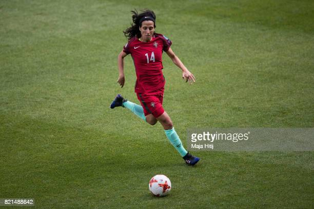 Dolores Silva of Portugal controls the ball during the UEFA Women's Euro 2017 Group D match between Scotland v Portugal at Sparta Stadion on July 23...
