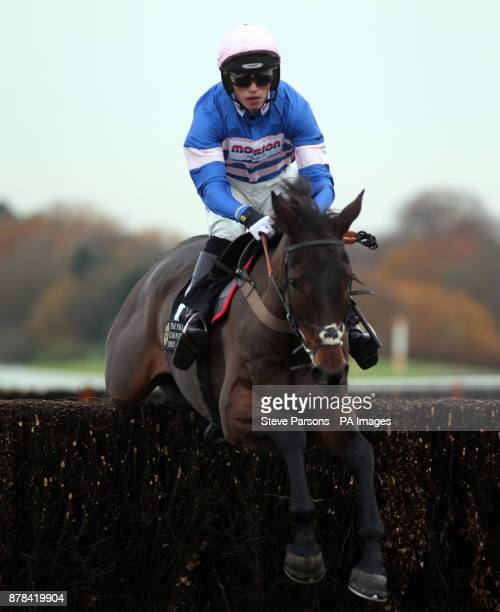 Dolos fridden by Harry Cobden jumps the last fence to win the Tindle Newspapers Beginners steeple Chase at Ascot Racourse