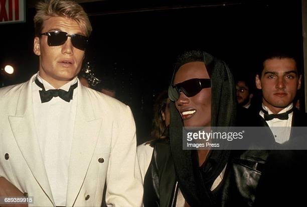 Dolph Lundgren and Grace Jones circa 1985 in New York City