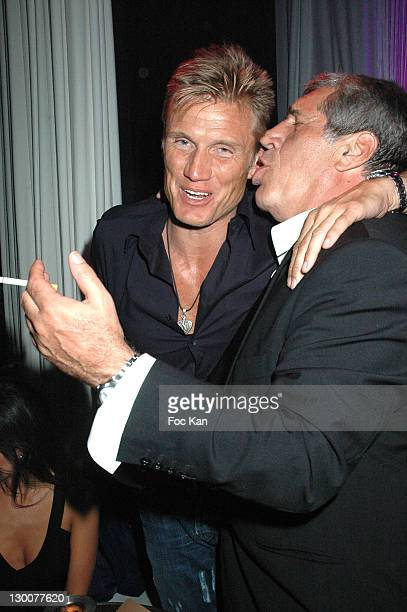Dolph Lundgren and Jean Pierre Castaldi during 2005 Cannes Film Festival Gallery Enrico Navarra Tribute To Keith Harring Party at VIP Room Cannes...
